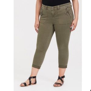 Torrid 24 jeans crop twill military olive green